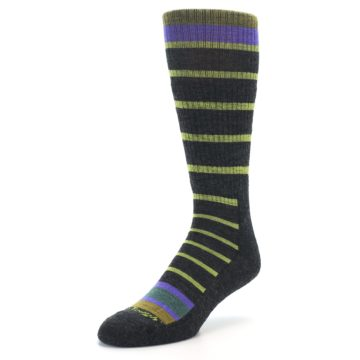 Image of Charcoal Lime Stripe Wool Men's Boot Socks (side-2-front-08)