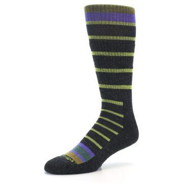Image of Charcoal Lime Stripe Wool Men's Boot Socks (side-2-09)