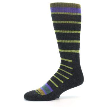 Image of Charcoal Lime Stripe Wool Men's Boot Socks (side-2-10)