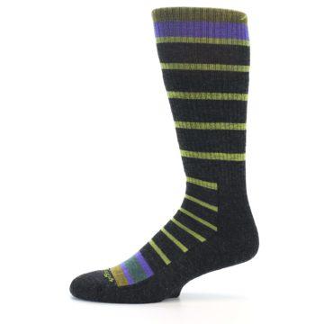 Image of Charcoal Lime Stripe Wool Men's Boot Socks (side-2-11)