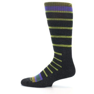 Image of Charcoal Lime Stripe Wool Men's Boot Socks (side-2-12)