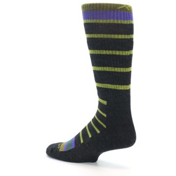 Image of Charcoal Lime Stripe Wool Men's Boot Socks (side-2-back-14)