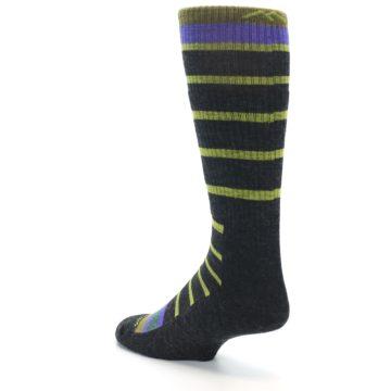 Image of Charcoal Lime Stripe Wool Men's Boot Socks (side-2-back-15)