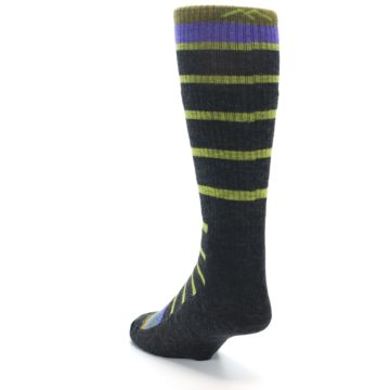 Image of Charcoal Lime Stripe Wool Men's Boot Socks (side-2-back-16)