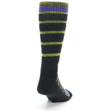 Image of Charcoal Lime Stripe Wool Men's Boot Socks (side-1-back-20)