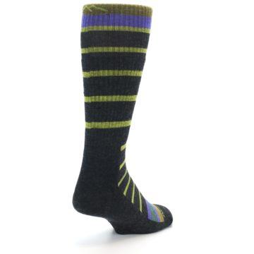 Image of Charcoal Lime Stripe Wool Men's Boot Socks (side-1-back-21)