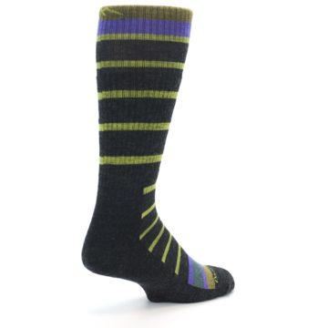Image of Charcoal Lime Stripe Wool Men's Boot Socks (side-1-back-22)