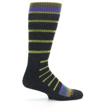 Image of Charcoal Lime Stripe Wool Men's Boot Socks (side-1-24)