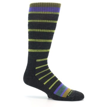 Image of Charcoal Lime Stripe Wool Men's Boot Socks (side-1-25)