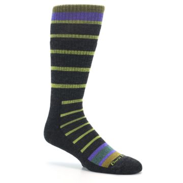 Image of Charcoal Lime Stripe Wool Men's Boot Socks (side-1-26)