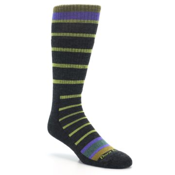 Image of Charcoal Lime Stripe Wool Men's Boot Socks (side-1-27)