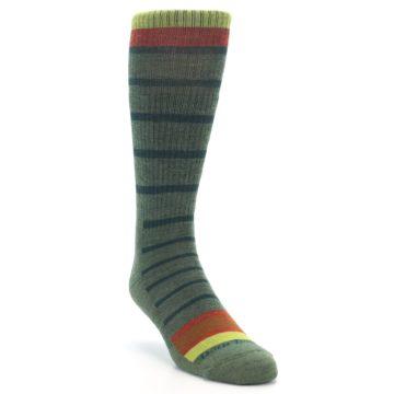Image of Green Stripe Wool Men's Hiking Socks (side-1-front-02)
