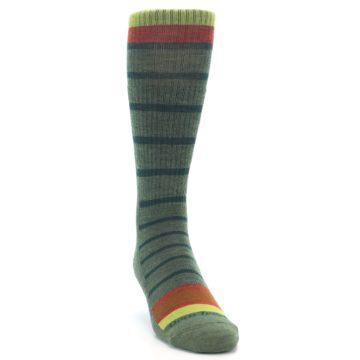 Image of Green Stripe Wool Men's Hiking Socks (side-1-front-03)