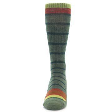 Image of Green Stripe Wool Men's Hiking Socks (front-05)
