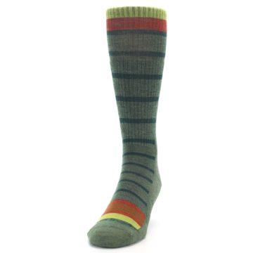 Image of Green Stripe Wool Men's Hiking Socks (side-2-front-06)