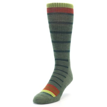 Image of Green Stripe Wool Men's Hiking Socks (side-2-front-07)