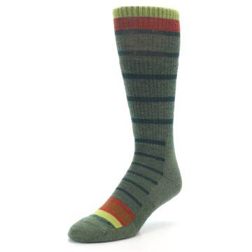 Image of Green Stripe Wool Men's Hiking Socks (side-2-front-08)