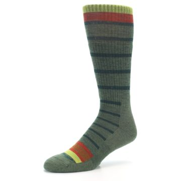 Image of Green Stripe Wool Men's Hiking Socks (side-2-09)