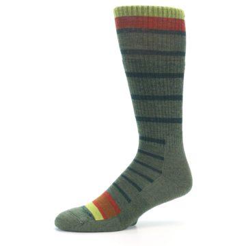 Image of Green Stripe Wool Men's Hiking Socks (side-2-10)