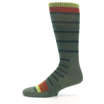 Image of Green Stripe Wool Men's Hiking Socks (side-2-11)