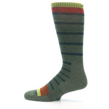 Image of Green Stripe Wool Men's Hiking Socks (side-2-12)