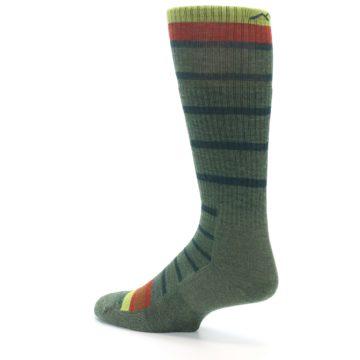 Image of Green Stripe Wool Men's Hiking Socks (side-2-back-14)