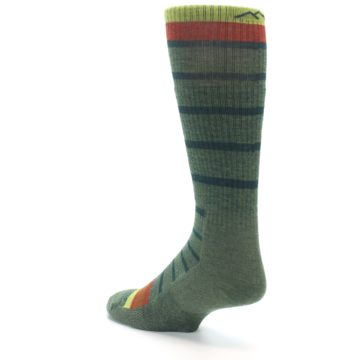 Image of Green Stripe Wool Men's Hiking Socks (side-2-back-15)