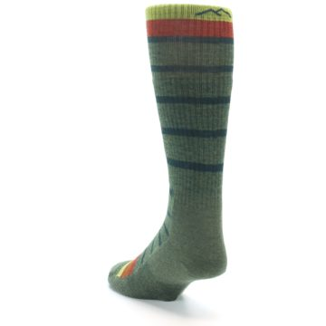 Image of Green Stripe Wool Men's Hiking Socks (side-2-back-16)