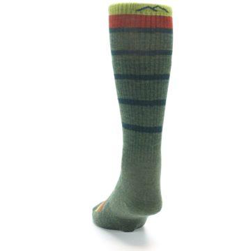 Image of Green Stripe Wool Men's Hiking Socks (back-17)