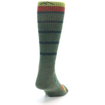 Image of Green Stripe Wool Men's Hiking Socks (side-1-back-20)