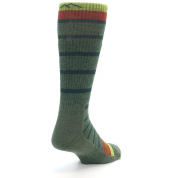 Image of Green Stripe Wool Men's Hiking Socks (side-1-back-21)