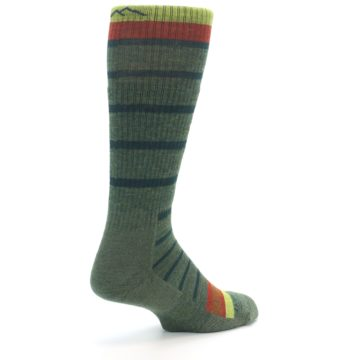 Image of Green Stripe Wool Men's Hiking Socks (side-1-back-22)