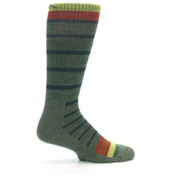 Image of Green Stripe Wool Men's Hiking Socks (side-1-24)