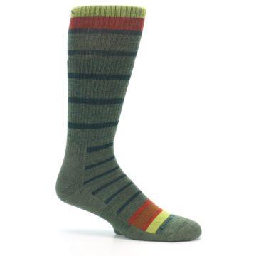 Image of Green Stripe Wool Men's Hiking Socks (side-1-25)