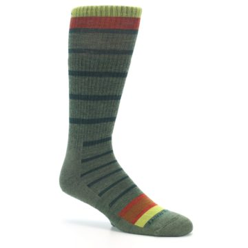 Image of Green Stripe Wool Men's Hiking Socks (side-1-26)