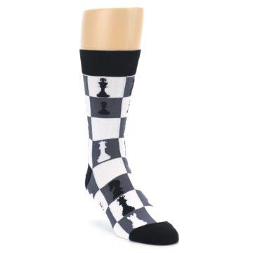 Image of Black White Chess Checkmate Men's Dress Socks (side-1-front-02)