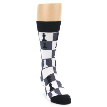 Image of Black White Chess Checkmate Men's Dress Socks (side-1-front-03)