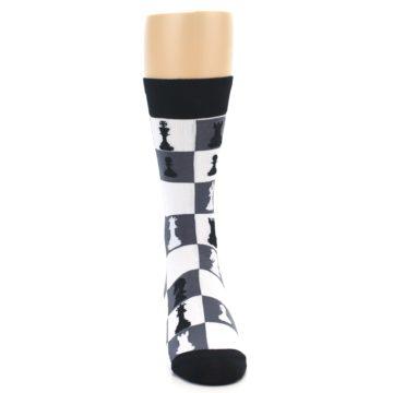 Image of Black White Chess Checkmate Men's Dress Socks (front-04)