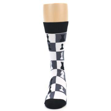 Image of Black White Chess Checkmate Men's Dress Socks (front-05)