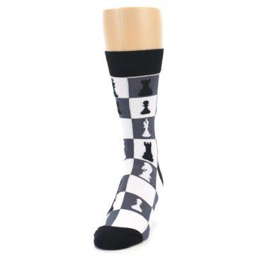 Image of Black White Chess Checkmate Men's Dress Socks (side-2-front-06)