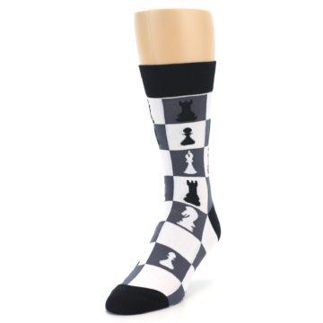 Image of Black White Chess Checkmate Men's Dress Socks (side-2-front-07)