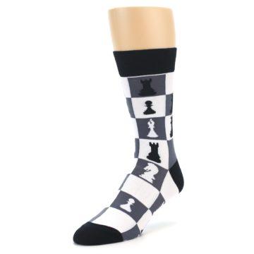 Image of Black White Chess Checkmate Men's Dress Socks (side-2-front-08)