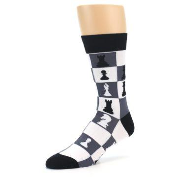 Image of Black White Chess Checkmate Men's Dress Socks (side-2-09)