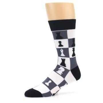 Image of Black White Chess Checkmate Men's Dress Socks (side-2-10)