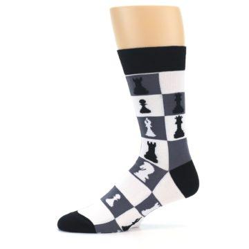 Image of Black White Chess Checkmate Men's Dress Socks (side-2-11)