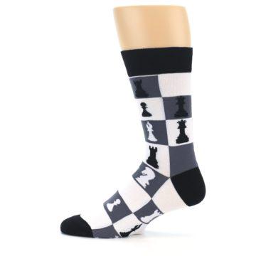 Image of Black White Chess Checkmate Men's Dress Socks (side-2-12)