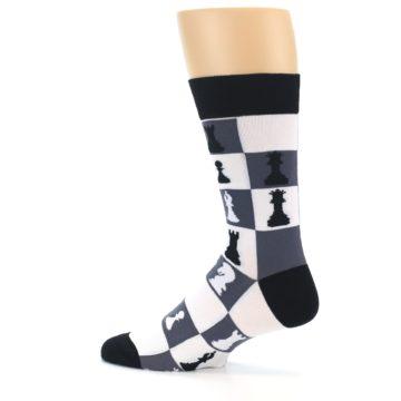 Image of Black White Chess Checkmate Men's Dress Socks (side-2-13)