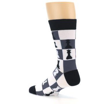 Image of Black White Chess Checkmate Men's Dress Socks (side-2-back-14)