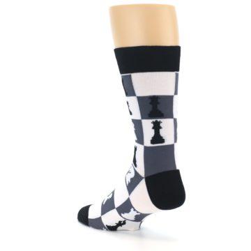 Image of Black White Chess Checkmate Men's Dress Socks (side-2-back-15)