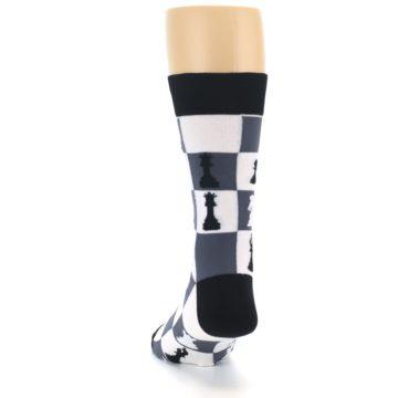 Image of Black White Chess Checkmate Men's Dress Socks (back-17)